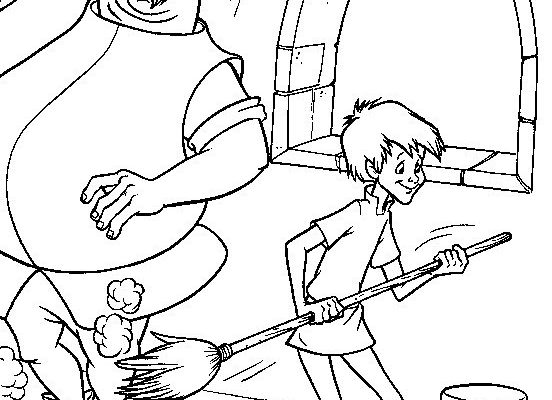 Dibujo El joven Merlín limpiando