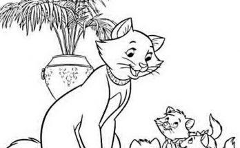 Dibujo Los Aristogatos felices con su mamá