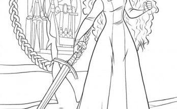 Dibujo Mérida practica con la espada
