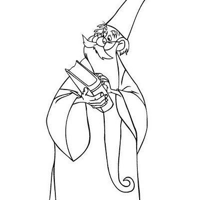 Dibujo Merlín buscando hechizos