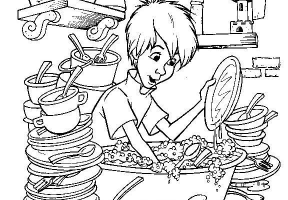 Dibujo Merlín fregando platos