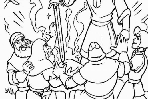 Dibujo Merlín consigue la espada