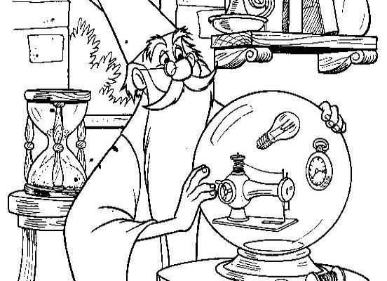 Dibujo Merlín y su bola de cristal