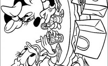Dibujo Minnie y Daisy tomando un refresco