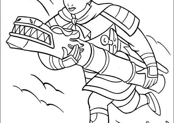 Dibujo Mulán lucha contra los Hunos