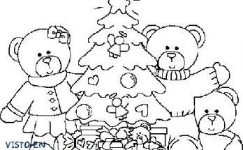 Dibujo Navidad en casa de la familia oso
