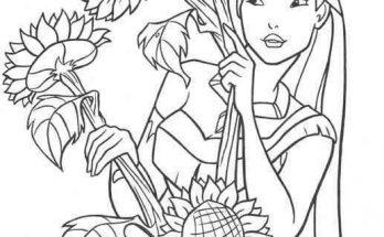 Dibujo Pocahontas posa entre girasoles gigantes
