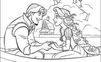 Dibujo Rapunzel y el príncipe en la barca