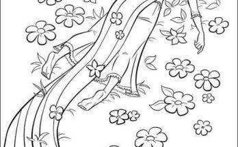 Dibujo Rapunzel en el campo