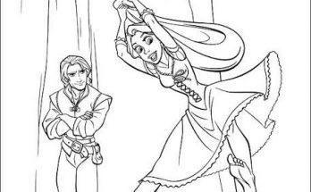 Dibujo Rapunzel jugando con su pelo