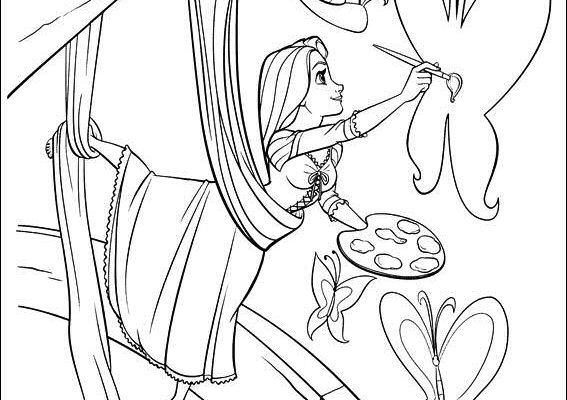 Dibujo Rapunzel pintando la pared