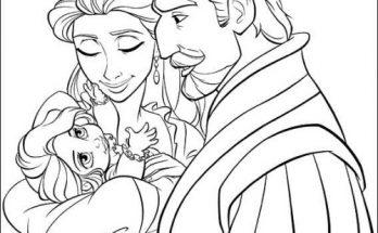 Dibujo Los reyes con Rapunzel en brazos