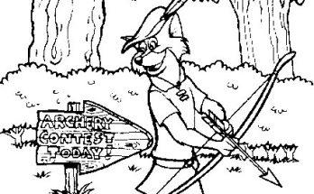 Dibujo Robin Hood va al concurso de tiro con arco