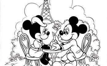 Dibujo Cena romántica de Minnie y Mickey
