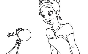 Dibujo Tiana mira atenta al sapo