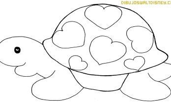 Dibujo Tortuga con corazones