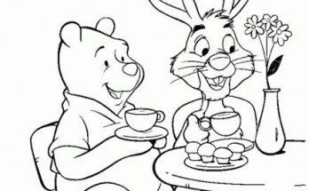 Dibujo Winnie The Pooh con amigos tomando café
