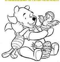 Dibujo Winnye y pájaro